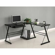 Walker Edison 3-Piece Soreno L-Shaped Computer Desk Black D51B29 New