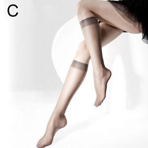1 Pair Women Calf Socks Transparent Hold Ups Thin Nylon Elastic Stockings Top