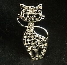 Vintage Silver Tone Clear Rhinestone Black Milk Glass Eyes Nose Cat Brooch Pin