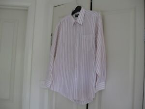 Men's Shirt Long Sleeves Size 42  Design Crocodile White with Red Stripe