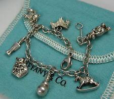 Tiffany & Co Vintage Sterling Silver Dog Cat Teddy Clown Horse 7 Charm Bracelet