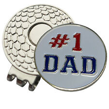 1 x New Magnetic Hat Clip + #1 Dad Golf Ball Marker - For Golf Hat or Visor