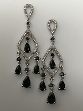 10K White Gold Blue Sapphire and 0.25ct twt Diamond Chandelier Earrings