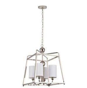 Decor Living Wagner 4-Light Pendant Light Hanging Fixture, Polished Nickel