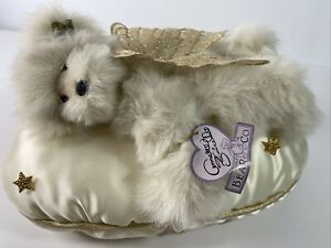 Annette Funicello Collectable Angel Bear Co Plush Bear Dozing On Satin Pillow