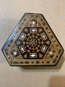 Antique Damascene Islamic Inlaid Micro Mosaic Jewelry Trinket Wooden Box