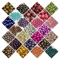 BUY 3, GET 3 FREE 400x4mm 200x6mm 100x8mm 50x10mm Glass Pearl Beads UK SELLER