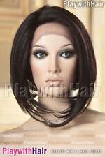 Sleek Sophisticated Bob Wig Lace Front Heat Safe Mono Part Brown Black
