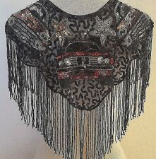 Vtg  Iridescent Sequin Scarf Shawl Collar Cape Vest Mary Kay Oldies Mardi Gr
