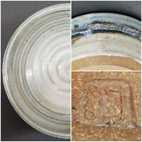 "Studio Art Pottery Hand Thrown 8"" Stoneware Bowl, Stamp Signed, Blue Drip Glaze"