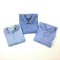 Van Heusen Classic Fit Blue Long Sleeve Dress Shirts Lot Sz 17-17.5 & 16-16.5