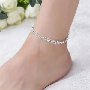 2020 New Fashion Sterling Silver Ankle Bracelet Elegant Twisted Weave Chain