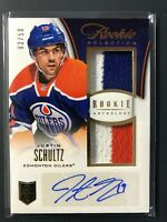 2013-14 Panini Rookie Anthology Dual Patch Auto Justin Schultz Oilers 03/50