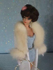 "AllforDoll Mink fur COAT for 11.5 -12"" Fashion Royalty Vintage Silkstone Barbie"
