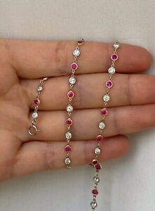 """Platinum Diamond by the Yard Necklace with Natural Rubies H SI1 3.10 ct. 20"""""""