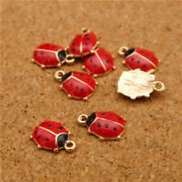 10PCS Red Ladybug Charms Enamel Pendants Great For Jewelry Making Findings
