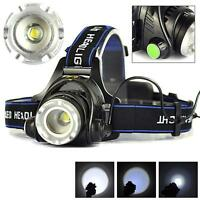 8000LM Zoomable CREE XM-L T6 LED 18650 Torch Headlight Rechargeable Headlamp T+