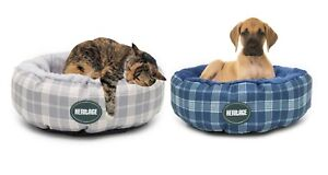 Heritage Round Dog Cat Beds 50CM Deluxe Soft Fleece Lining Kitten Puppy Cushion