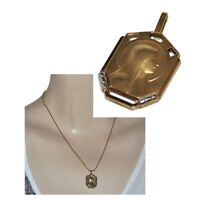 Pendentif ancien médaille de la Vierge Marie plaqué or Fix Art déco bijou