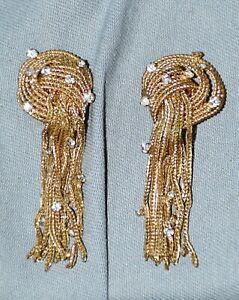 Paar Ohrclips, vergoldet, Knotenform, Strass