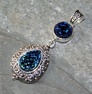 SILVER Vintage Style Blue Green Rainbow Titanium Druzy Pendant WP10909