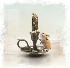 More details for richard cooper studio mice bronze resin mouse on candlestick ornament 259br new