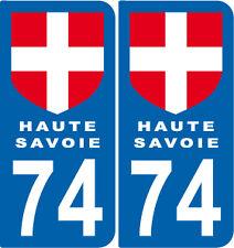 2 Stickers style plaque AUTO adhésif département 74 Haute Savoie