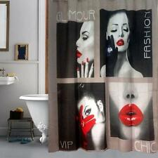 Glamour Fashion Chic Model with Lipstick Bathroom Shower Curtain Polyester Hooks