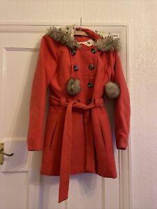 Ribbon Salmon Pink Duffle Coat Faux Fur Hood Size 14