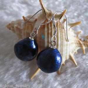 11-13mm Navy Baroque Freshwater Pearl Dangle Earrings D2S