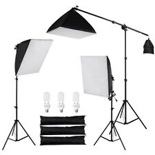 Photo Studio 3PCS Softbox Continuous Lighting Boom Arm Stand Kit w/ Carry Bag