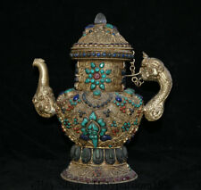 """11.6"""" OId Tibet Nepal Silver Wire Inlay Crystal Turquoise Dragon Handle Wine Pot"""