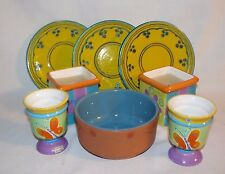 Lot of 8 Like Items 3 Small plates 2 Candles 2 Egg Cups or Candle Holders 1 Bowl