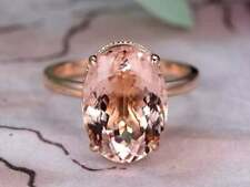 4Ct Oval Cut Morganite Syn Diamond Miligrain Solitaire Ring Rose Gold Fns Silver