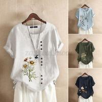 Plus Size Womens Summer Cotton Linen Floral Tops Ladies Loose Blouse Tee T Shirt
