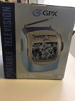 "Vintage Black & White 5"" GPX TVP2 Portable TV With AM FM Radio Mint In Box"