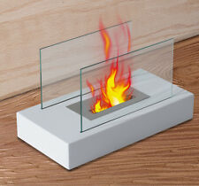 "HOMCOM 14"" Portable Table Top Fireplace Firebox Bio Ethanol Burner Heater White"