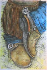 COWBOY BOOTS - US,small,art reproduction,artist, ink, realism,fashion & costumes