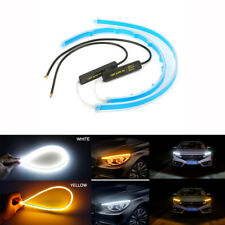 2x 60cm Flexible LED Light Strip Car White DRL + Flowing Yellow Turn Signal IP68