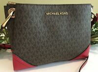 MICHAEL KORS NICOLE LARGE TRIPLE COMPARTMENT CROSSBODY BROWN SIGNATURE RED