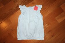 NWT Gymboree Cherry Blossom 5T Blue Striped Pink Flower Ruffle Shirt Top