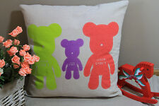 Zakka Vintage Cotton Linen Cushion Cover Home Decor Space Story Bears