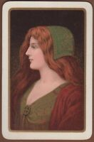 Playing Cards 1 Single Card Old Vintage CELTIC LADY Redhead Girl Art Potrait