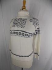 EDDIE BAUER Women's Petite Medium L/S T-neck White & Gray Cableknit SWEATER
