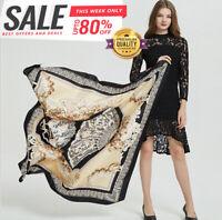 Seidentuch großes Tuch 130x130cm Schwarz Gold Poncho Seide Damen Schal Frau N42