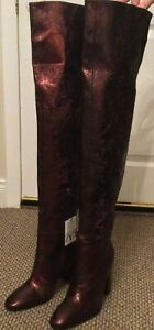 New Zara Animal Print Metallic Burgundy Leather Thigh Heeled Boots Sz 7 UK/40 EU