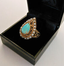 Vintage Custom 14k yellow gold 3ct fiery pear-shaped opal and seed Pearl ring 6