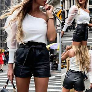 Womens PU Leather Shorts Ladies Wet Look High Waist Hot Pants Bow Belted Pants