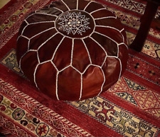 Moroccan leather pouf, Dark tan pouf, with white stitching leather Pouf ANEW pou