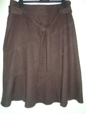 NEW LOOK ladies skirt - casual brown linen/viscose blend lace trim with belt- 12